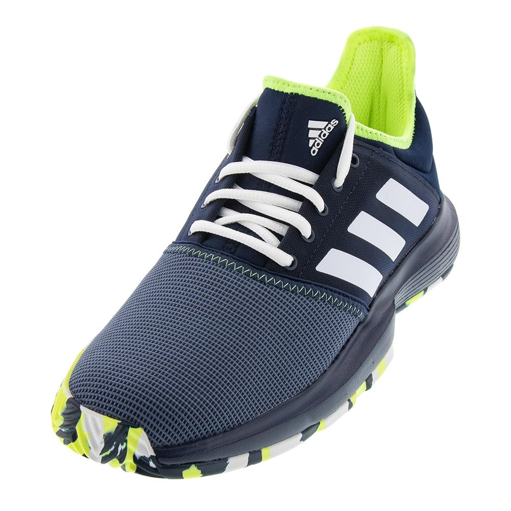 another chance fe500 f485b ADIDAS ADIDAS Mens Gamecourt Multicourt Tennis Shoes Collegiate Navy And  Hi- Res Yellow