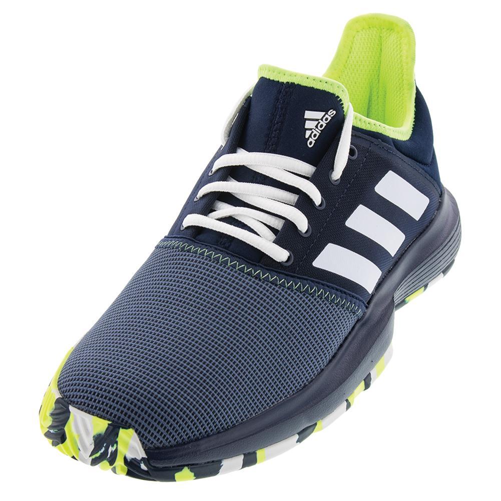 Juniors ` Gamecourt Multicourt Tennis Shoes Collegiate Navy And Hi- Res Yellow