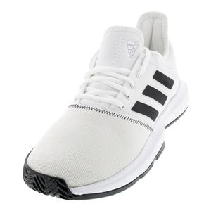 Men`s GameCourt Wide Tennis Shoes White and Black