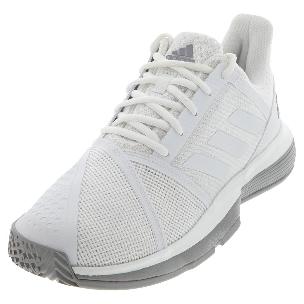 e39f9b55b83e8 Adidas Women s CourtJam Bounce Tennis Shoes White and Light Granite