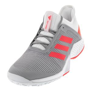 Women`s Adizero Club 2 Tennis Shoes White and Shock Red