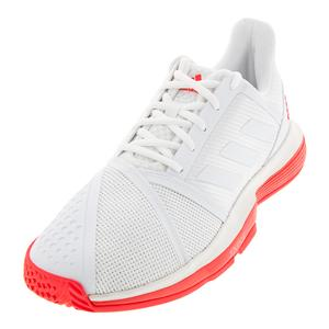 Men`s CourtJam Bounce Tennis Shoes White and Shock Red