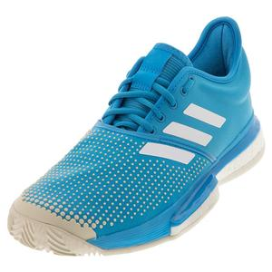Women`s SoleCourt Boost Clay Tennis Shoes Shock Cyan and White