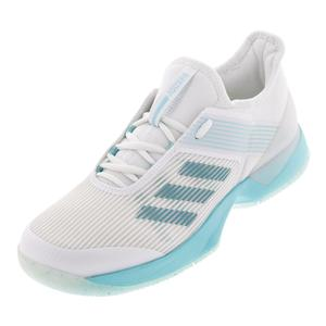 Women`s Adizero Ubersonic 3 Parley Tennis Shoes Blue Spirit and White