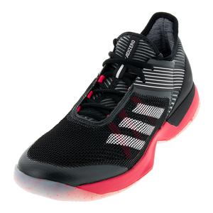 Women`s Adizero Ubersonic 3.0 Tennis Shoes Black and Shock Red