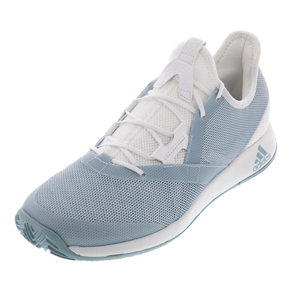 Women's Adizero Defiant Bounce Tennis Shoes White And Ash Gray