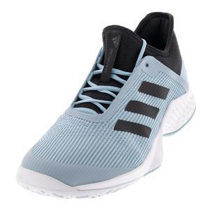Juniors` Adizero Club 2 Tennis Shoes White and Blue Spirit