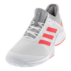 Juniors` Adizero Club 2 Tennis Shoes Light Granite and Shock Red