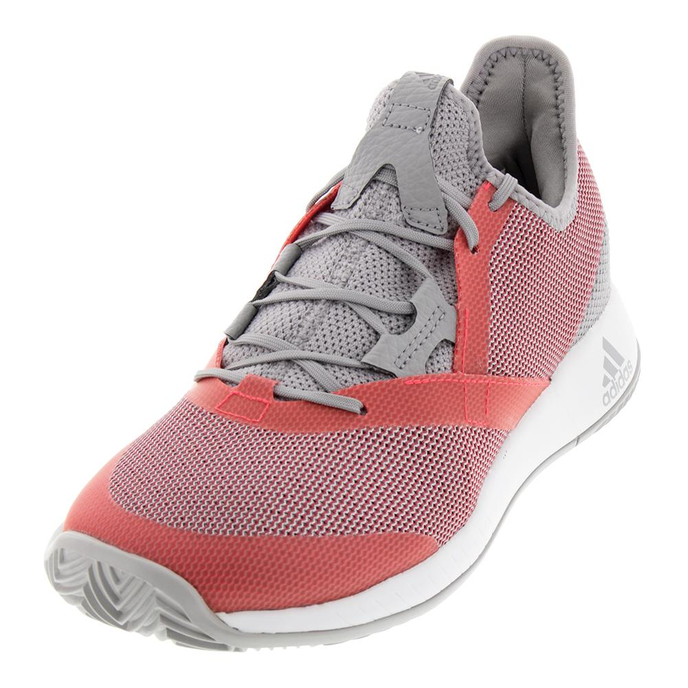 9fddfab8c11e6 Adidas Women s Adizero Defiant Bounce Tennis Shoes Light Granite and Shock  Red