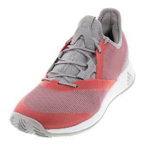 Women`s Adizero Defiant Bounce Tennis Shoes Light Granite and Shock Red