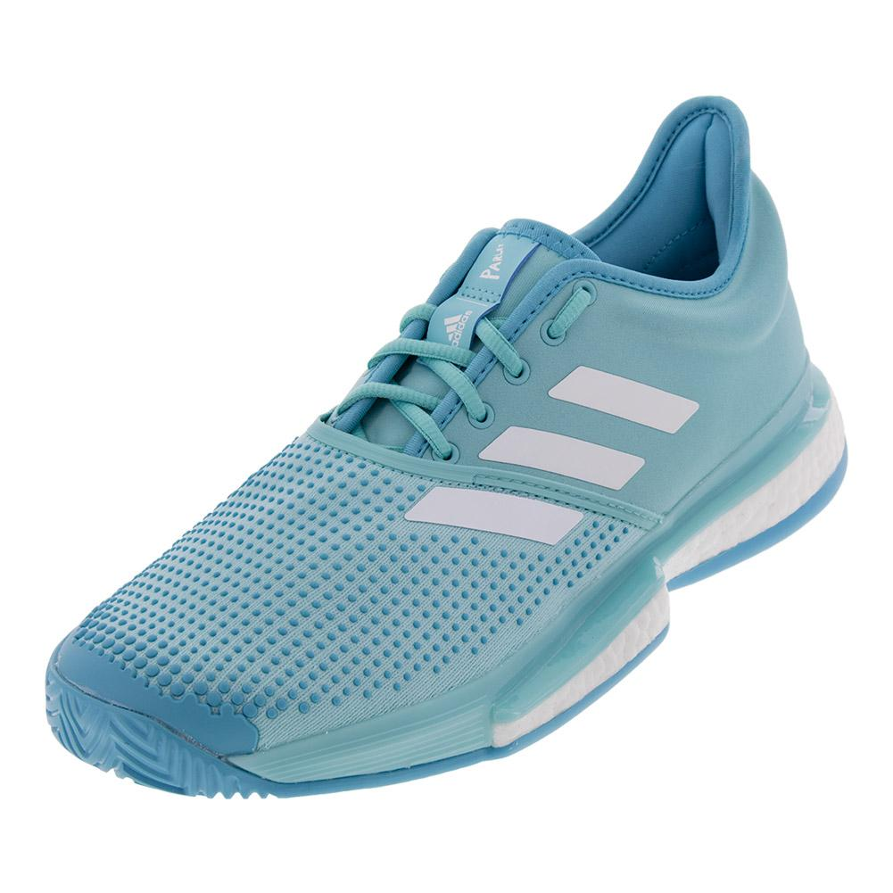 info for 0f6a2 bc221 Adidas Men s SoleCourt Boost Parley Tennis Shoes Blue Spirit and White