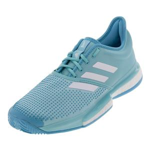 Men`s SoleCourt Boost Parley Tennis Shoes Blue Spirit and White
