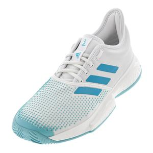 new product 221d3 9034b NEW Men`s SoleCourt Boost Parley Tennis Shoes White and Vapour Blue Adidas  Mens ...