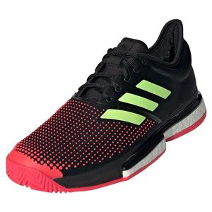 Men`s SoleCourt Boost Tennis Shoes Black and Shock Red