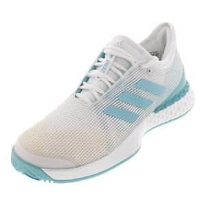 Men`s Adizero Ubersonic 3 Parley Tennis Shoes White and Blue Spirit