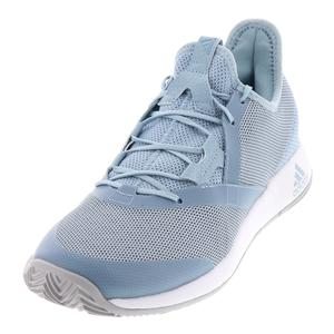 Men`s Adizero Defiant Bounce Tennis Shoes Ash Gray and Light Granite
