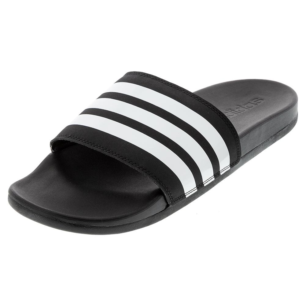 Women's Adilette Cloudfoam Plus Stripes Slides Black And White