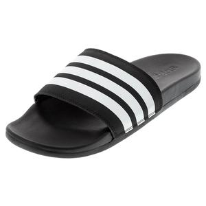 Women`s Adilette Cloudfoam Plus Stripes Slides Black and White