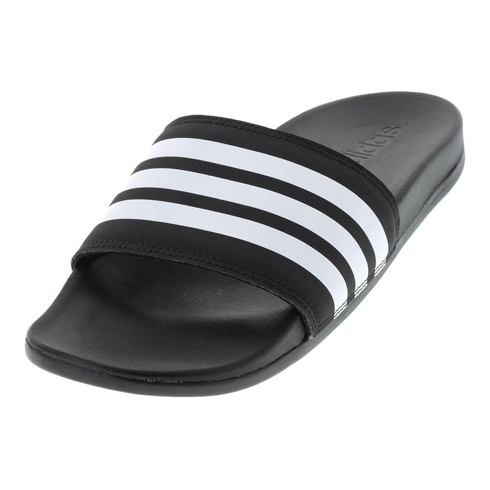 Men's Adilette Cloudfoam Plus Stripes Slides Black And White