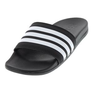 Men`s Adilette Cloudfoam Plus Stripes Slides Black and White