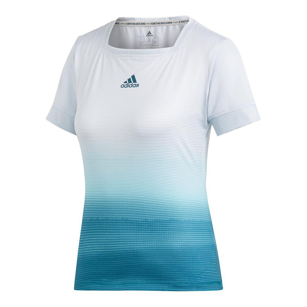 Women's Parley Tennis Top White And Blue Spirit