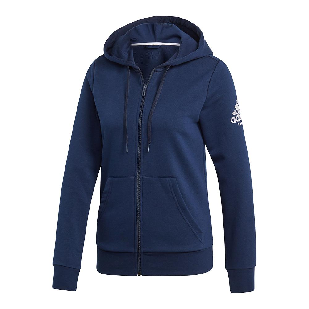 Women's Club Logo Tennis Hoodie Collegiate Navy And White