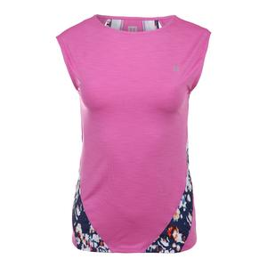 Women`s Backup Cap Sleeve Tennis Top Super Pink and Monet Modern Print