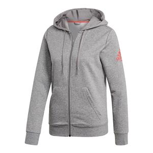 Women`s Club Logo Tennis Hoodie Core Heather and Shock Red