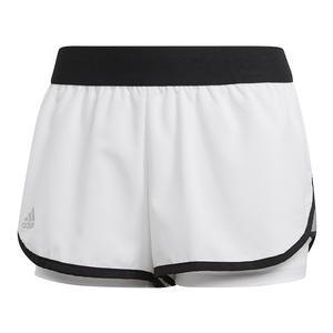 Women`s Club 3.5 Inch Tennis Short White and Black
