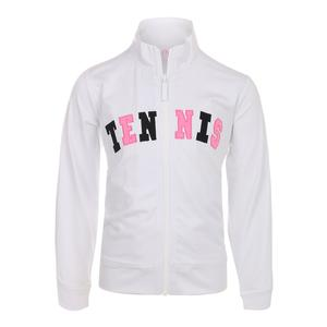 Girls` Front Zip Tennis Jacket White
