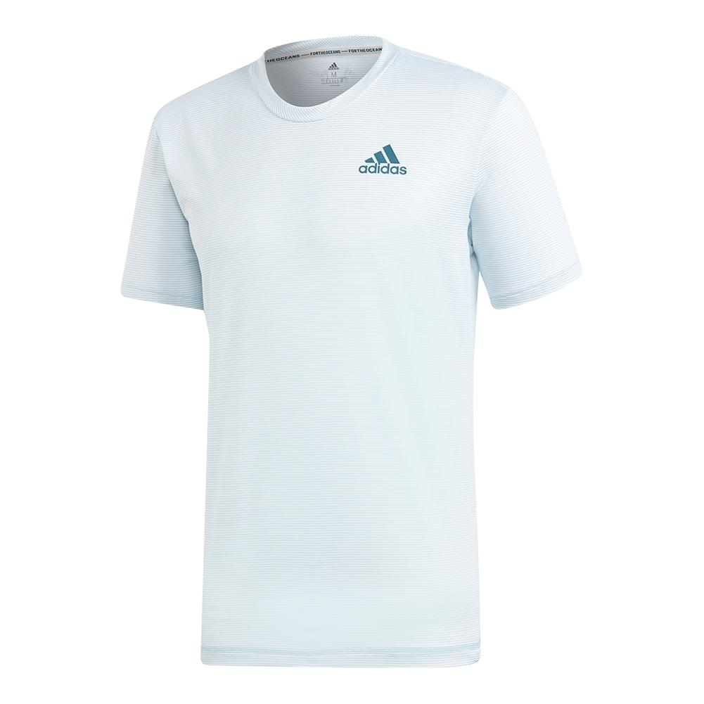 Men's Parley Striped Tennis Top White And Easy Blue
