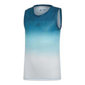 ee3bb9cb33db SALE Girls` Parley Tennis Tank Blue Spirit and White Adidas ...