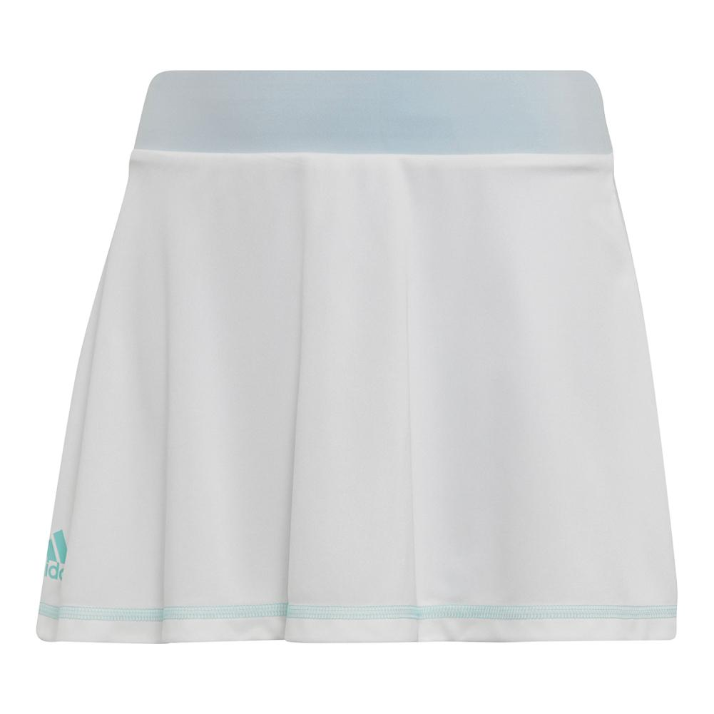 Girls ` Parley Tennis Skirt White And Easy Blue