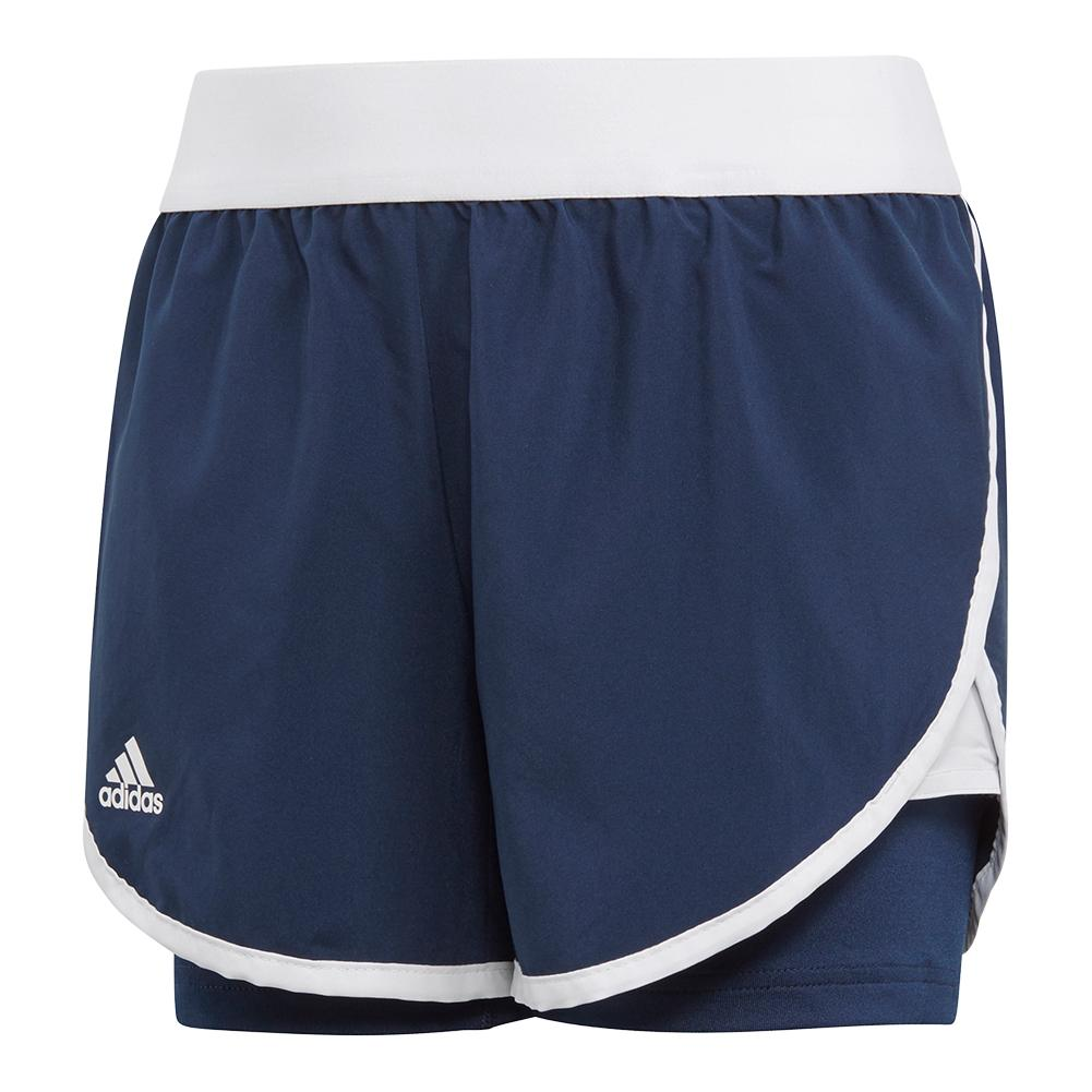 Girls ` Club Tennis Short Collegiate Navy And White