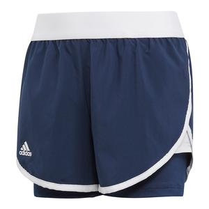 Girls` Club Tennis Short Collegiate Navy and White