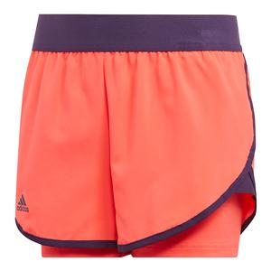Girls` Club Tennis Short Shock Red and Legend Purple