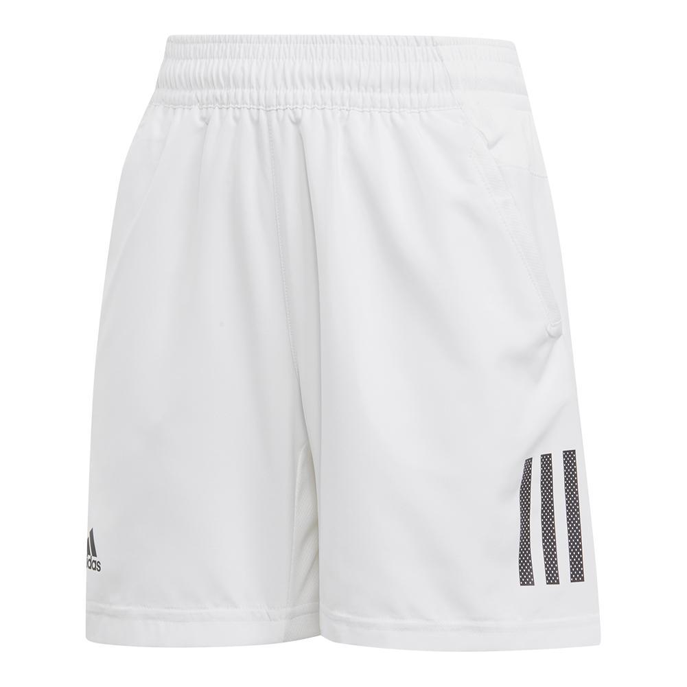 Boys ` Club 3 Stripes Tennis Short White And Black