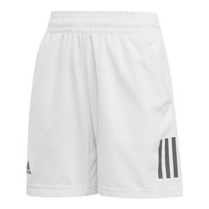 Boys` Club 3 Stripes Tennis Short White and Black