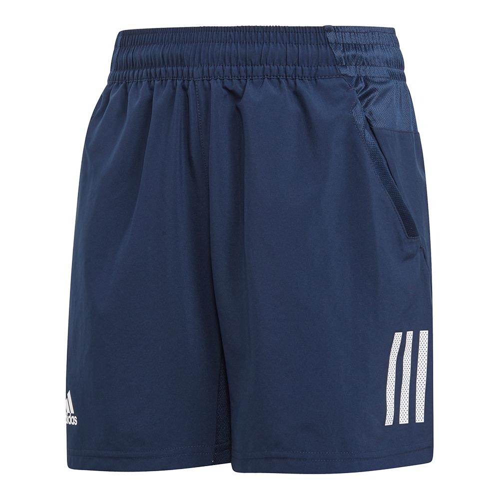 Boys ` Club 3 Stripes Tennis Short Collegiate Navy And White
