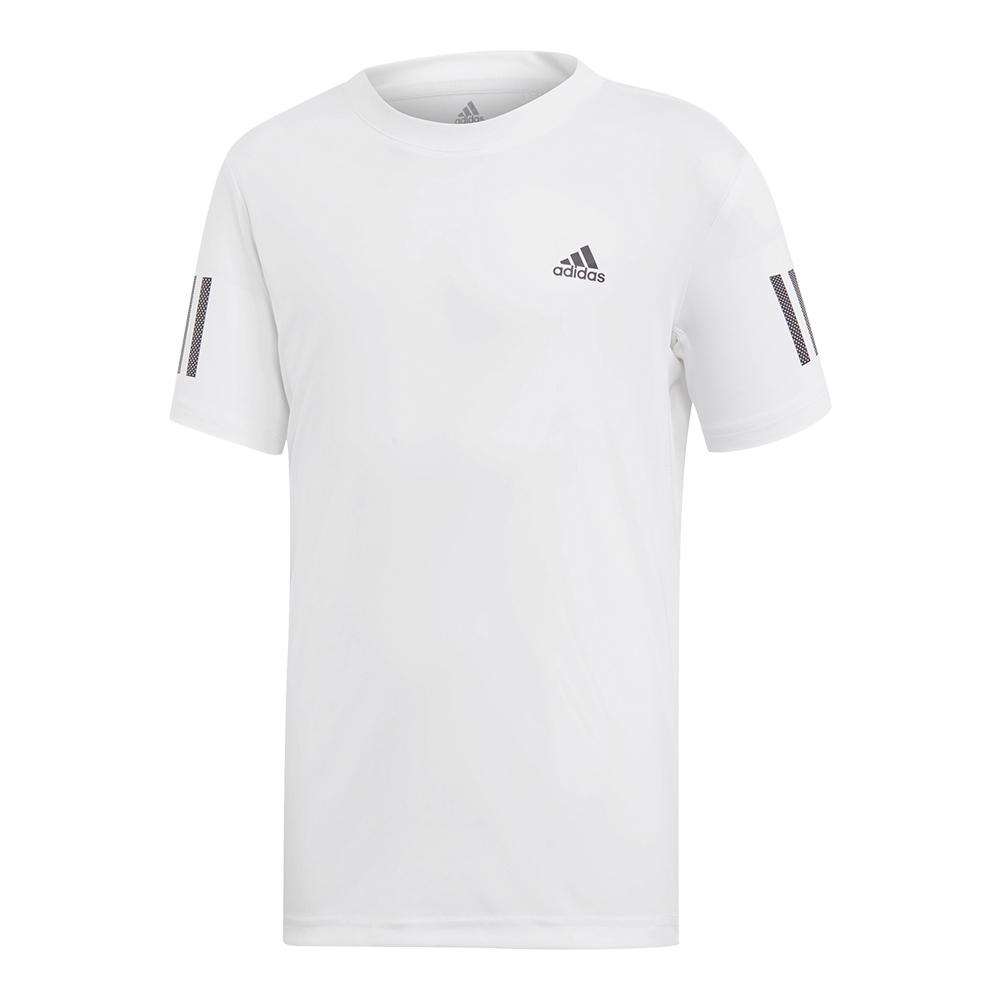 Boys ` Club 3 Stripes Tennis Top White And Black