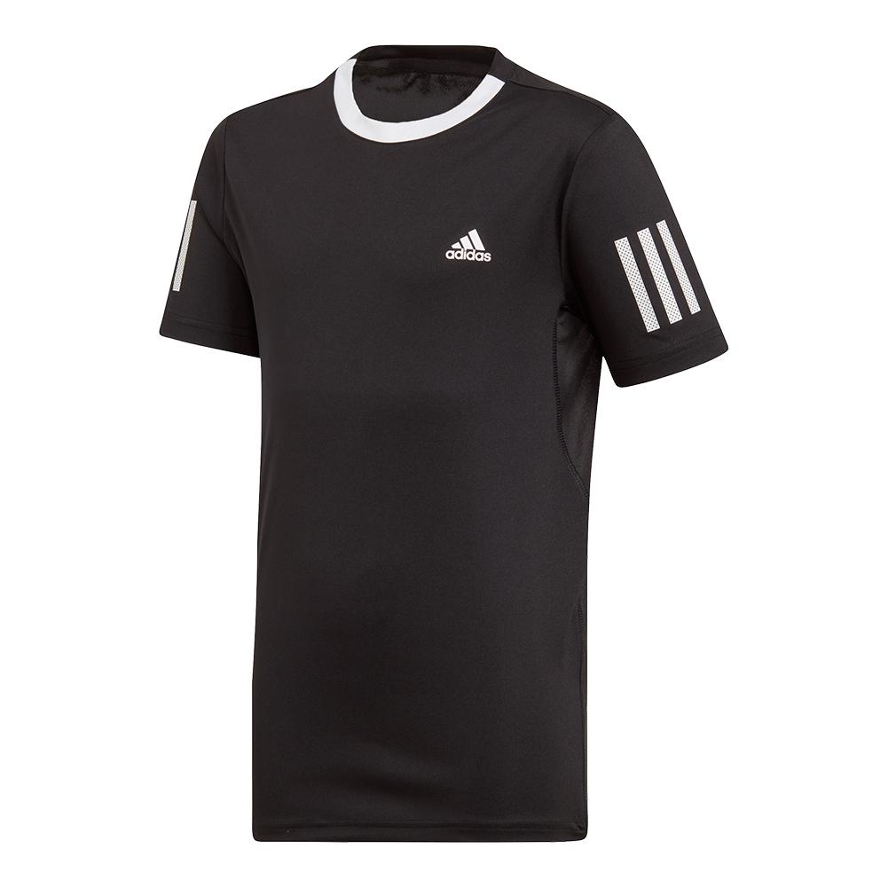 Boys ` Club 3 Stripes Tennis Top Black And White