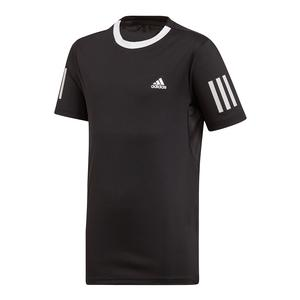 Boys` Club 3 Stripes Tennis Top Black and White
