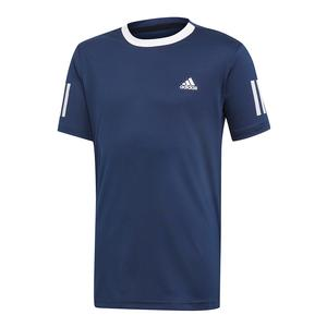 Boys` Club 3 Stripes Tennis Top Collegiate Navy and White
