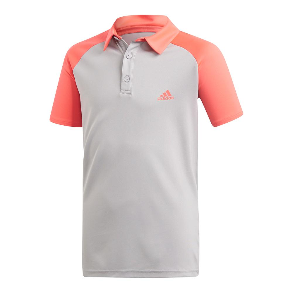Boys ` Club Tennis Polo Light Granite And Shock Red