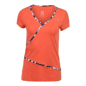 Women`s Wrap Short Sleeve Tennis Top Orange