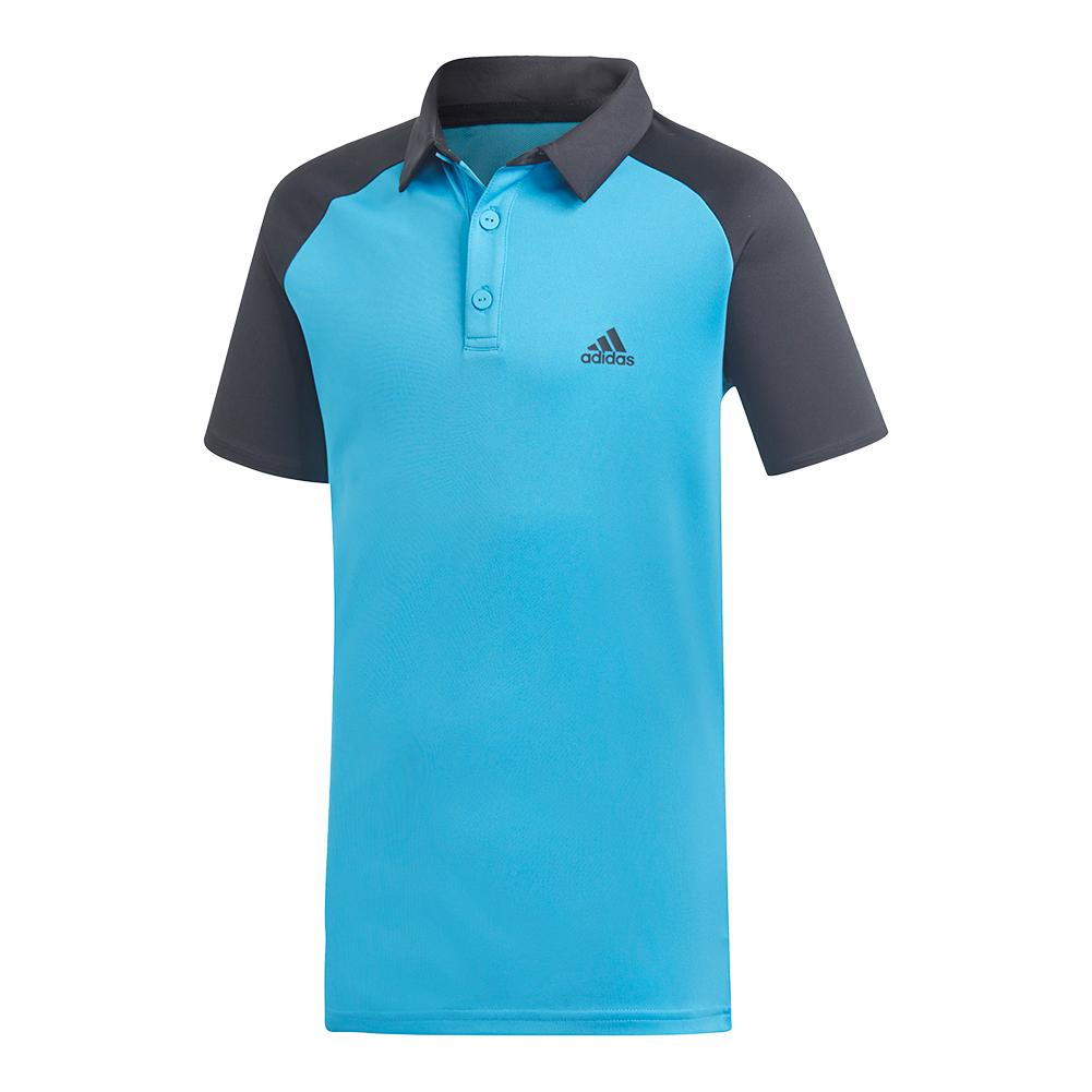 Boys ` Club Tennis Polo Shock Cyan And Black