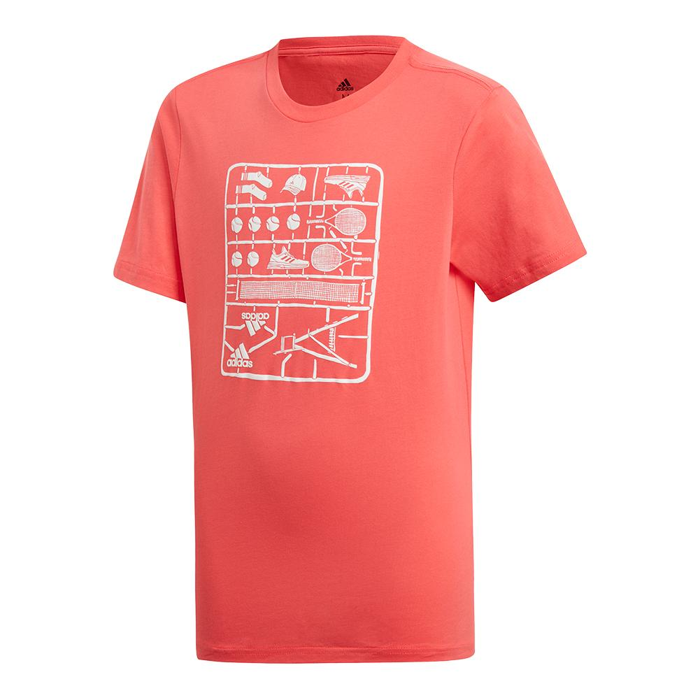 Juniors ` Graphic Tennis Tee Shock Red