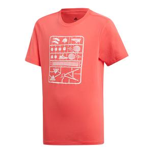 Juniors` Graphic Tennis Tee Shock Red