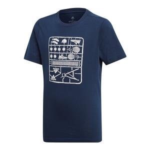 Juniors` Graphic Tennis Tee Collegiate Navy
