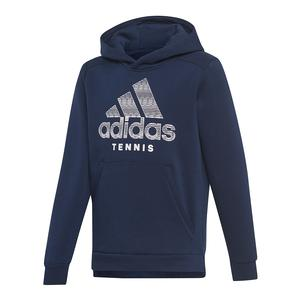 Juniors` Club Tennis Hoodie Collegiate Navy and White